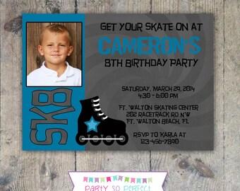 ROLLER SKATING 5x7 Photo Birthday Party Invitation - PRINTABLE