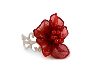 Red Fabric Flower Ring - Flower Girl Jewelry - Flower Girl Ring  - Clearance Sale