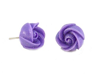 Clearance Jewelry: Sparkling Purple Rosebud Earring Posts