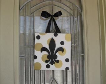New Orleans Saints Black Gold Polka Dot Fleur De Lis Door Decoration, 12 x 12 Wood Square, Wall Art, Cajun Southern Hostess Gift