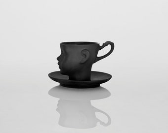 Porcelain doll head cup in black with saucer - whimsical black ceramic artisan mug, for coffee or tea