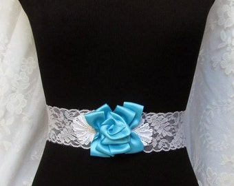Turquoise Bridesmaid Sash, Bridal Belt, Flower Sash, Wedding Dress Belt
