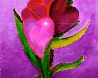 """Heart Flowers- 5""""x7"""" Art Print of Original Watercolor Painting by SQ Streater"""