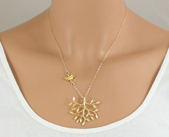 Detailed Tree And Bird Necklace -  Mother Gift For Daughter - GOLD FILLED CHAIN