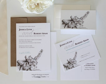 Pine Cone Wedding Invitation and Envelope (shown with RSVP Postcard) with pine cone drawing for outdoor or winter wedding, shower, and more