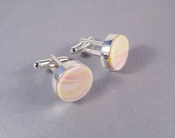 Cream Pink Cufflinks SHIPS IMMEDIATELY Handmade Composite Conch Shell Round Cuff Links