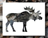 SALE : Moose Silhouette In Bark - Woodland Animal Wall Art, Lodge, Nursery, Home Nature Decor - 11x14 Archival Print