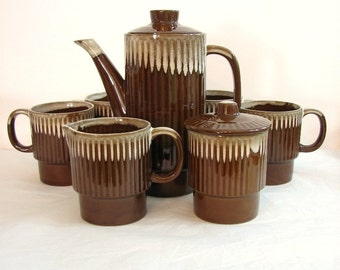 Retro Coffee or Tea Service for 4, Milk Chocolate Brown Drip Glazed  ... Japan Stacking Mugs, Coffee Pot or Teapot, Covered Sugar, Creamer