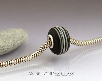 Interchangeable lampwork glass charm large hole bead Black and white Cocoon Fits TrollbeadsAnne Londez  SRA