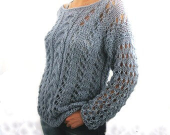 Hand Knit Sweater  in gray color, ecofriendly