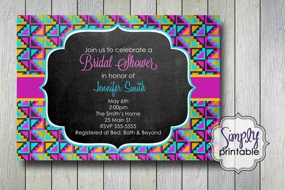 Tribal Blackboard Bridal Shower Invitation (Printable Digital File)