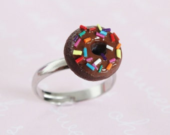 Miniature Food jewelry - Chocolate Doughnut Ring - Rainbow sprinkles
