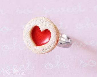Food Jewelry - Linzer cookie adjustable ring -