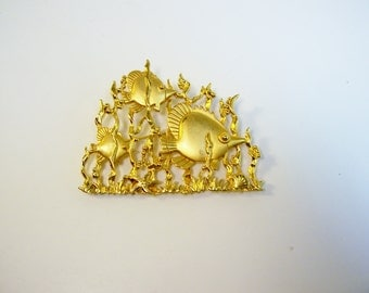 Vintage JJ Brooch Under The Sea Jewelry Pin Signed Copyright JJ 1970s