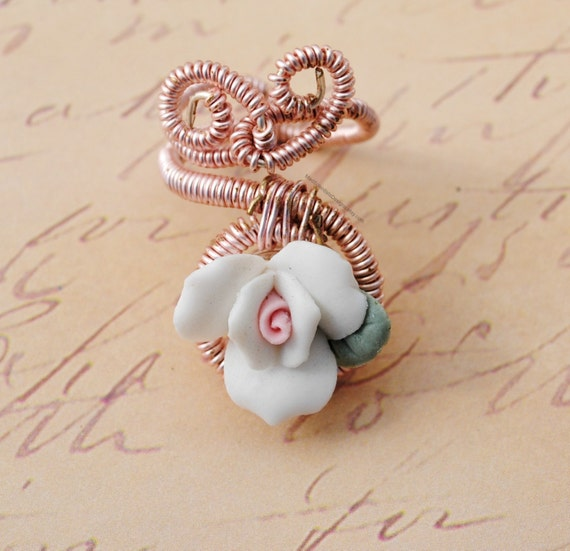Ceramic Rose Wire Wrapped Pink - One Of A Kind - PIF