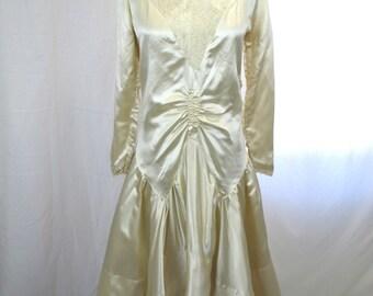 1920s White Silk Wedding Flapper Dress