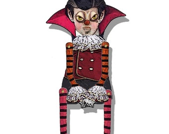 Halloween Gothic Paper articulated  doll Vampire DIY  collage sheet