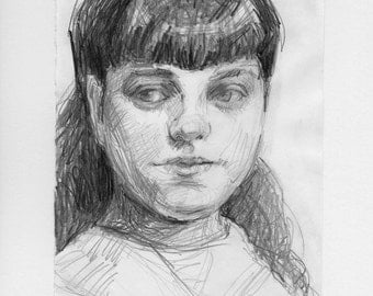 original drawing - Victorian Girl with Bangs & Long Hair - portrait, girl, children, pencil drawing, art