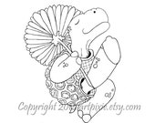 Turtle dancing with a flower digistamp,digi or digital stamp, clip art, coloring page