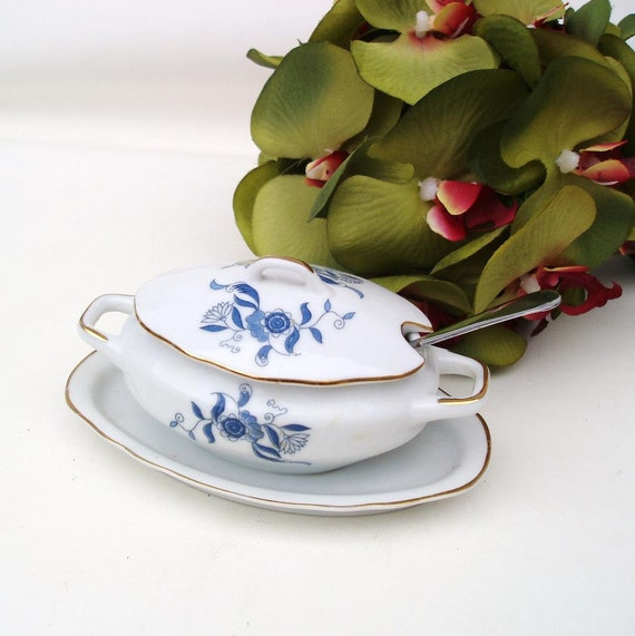 Vintage Miniature Soup Tureen Blue and White Covered Dish Jam Dish Arnart Creation