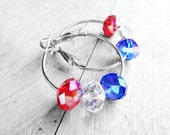 Get 15% OFF - Red, White, and Blue Swarovski Crystal Beads Silver Plated Hoop Earrings - Valentine's Day SALE
