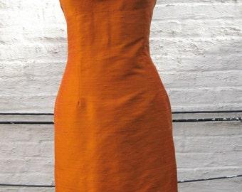 Orange Grecian Halter Silk Shantung Sheath Dress