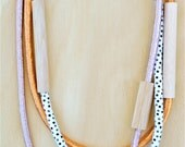 3 piece MIXED - WOOD & FABRIC Necklaces - Metallic Pink, Copper and Dot Print Cotton