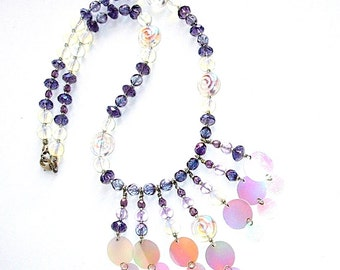 Purple iridescent Bubbles Necklace, Floating Bubbles, Hand Made in the USA