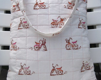 Vintage Orange & Pink Bicycles - Cotton Quilted Tote Bag with Polka Dot Trim