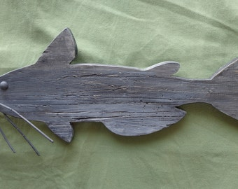 Catfish wooden cutout, wallhanger
