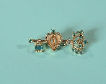 Vintage 1950s Religious Key Brooch - Mother Mary Sacred Heart - Blue Rhinestones