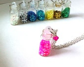Pixie dust filled mini glass vial necklace, vial necklace, pink necklace, glitter necklace, gifts for her, gifts for girls, fairy dust charm