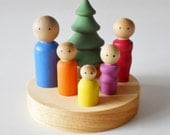 Little Peg People, Wooden Dolls, Wood Family, Child's Decor, Dollhouse Family, Waldorf