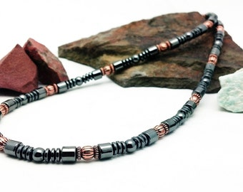 Magnetic Copper Necklace men's women's Therapy Triple POWER Hematite Free Gift Card and organza Bag