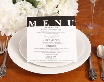 Color Block Wedding Reception Menu 50qty, Modern Dinner Wedding Menu, Personalized Wedding Table Setting Custom Designed
