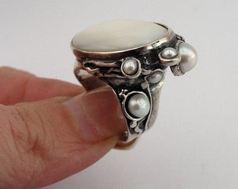 Unique israel handmade Amazing 925 Sterling Silver Mother of pearl and Pearl ellipse Ring size 8, Free shipping,  (h 172D)