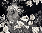 The Blessing Hare Blank Card from original Scraperboard design