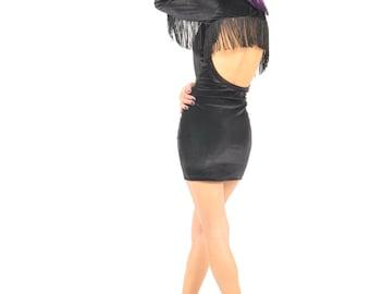 Fringe Dress Velvet boho open back