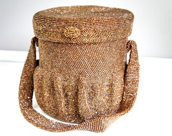 Antique Cylinder Seed Bead Purse - Art Deco Beaded Purse - Antique 1920s Purse - Brown Seed Bead Purse - Antique Cylinder Purse - Brown Bag
