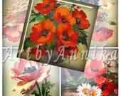 Digital Collage of Vintage Poppies - 63 1x1 Inch Square JPG images - Digital Collage Sheet