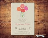 Printable Floral Bridal Shower Invite (digital file) DIY Printing at home or your choice of printer