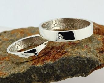 Custom Inner Fingerprint Ring - Sterling Silver Engraving Wedding Band set - birthstone diamond