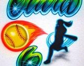 Airbrush T Shirt Softball Batter Name Number, Airbrush Softball Shirt, Softball Shirt, Batter Shirt, Airbrush Sports Shirt, Airbrush Shirt