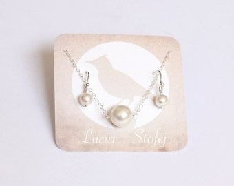 Pearl Jewelry Set, Bridesmaid Set, Necklace & Earrings, Wedding Jewelry, Bridal Pearl Jewelry, Bridesmaid Gift, White Ivory
