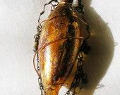 Glass Bottle Pendant Amber Amphora Teardrop Shape Perfume Bottle Reliquary Prayer/Spell Box