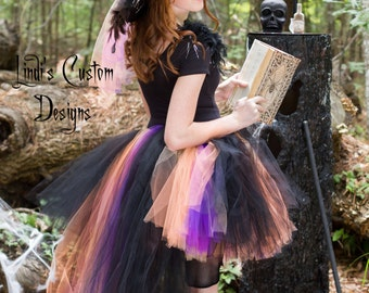 Witch Hi Low Tulle Tutu Costume for Girls, Teens, Adults including Over the Top Boa Witch Hat