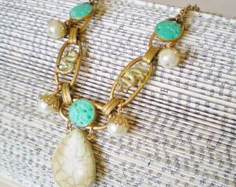 Green Luck Dragons Statement Necklace, Jade Gold Pearls, Magnesite Pendant necklace, Upcycled Vintage, Eco Friendly, Asian style