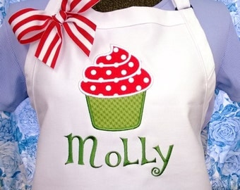 Personalized Apron Cupcake Swirl Fabric Applique