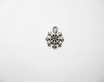12 SMALL Snowflake Charms in Silver Tone - C1000