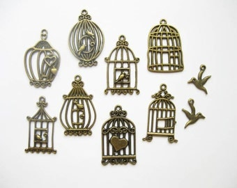 SALE - Bird Cage Charm Collection in Bronze Tone - 10 charms - C1204